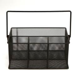 Mind Reader 4-Compartment Mesh Organizer Basket With Handle, 4 1/2in.H x 9 1/2in.W x 6 3/8in.D, Black