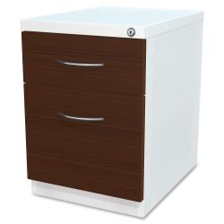 Lorell(R) Laminate Wood Mobile Pedestal File Cabinet, Box/File, 2-Tone White
