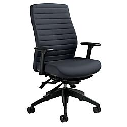 Global(R) Aspen Fabric High-Back Chair, Charcoal/Black