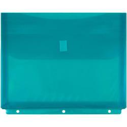 JAM Paper(R) Plastic Binder Envelopes With Hook-And-Loop Fastener, 8 5/8in. x 11 1/2in., Teal, Pack Of 12