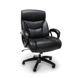 Essentials By OFM Big And Tall Bonded Leather High-Back Chair, Black/Black