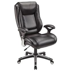 Realspace(R) Endsleigh Executive Big Tall Bonded Leather High-Back Chair, Satin Black/Chrome