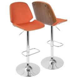 LumiSource Serena Mid-Century Modern Barstool, Orange/Chrome