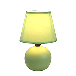 Simple Designs Mini Globe Table Lamp, 8 7/8in.H, Green Shade/Green Base