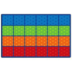 Flagship Carpets Cushy Tushy Stars Seating Rows Carpet, Rectangle, 7ft. 6in. x 12ft., Multicolor