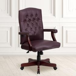 Flash Furniture Martha Washington Leather High-Back Swivel Office Chair, Burgundy