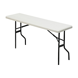 Iceberg Resin Folding Table, 29in.H x 60in.W x 18in.D, Platinum\/Black