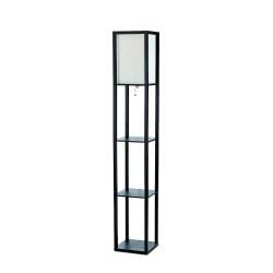 Simple Designs Etagere Organizer Floor Lamp, 63 3/8in.H, Linen Shade/Black Base