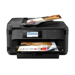Epson(R) WorkForce WF-7710 Wireless Color 19in. Inkjet Wide-Format All-In-One Printer, Scanner, Copier, Fax, C11CG36201