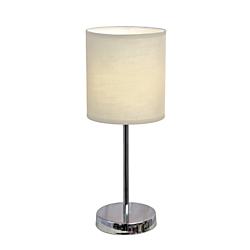 Simple Designs Mini Basic Table Lamp, 11 7/8in.H, White Shade/Chrome Base