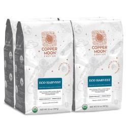 Copper Moon Coffee Whole Bean Coffee, Eco Harvest Fair Trade, 2 Lb Per Bag, Case Of 4 Bags
