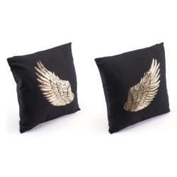 Zuo Modern Metallic Wings Pillows, Black/Gold, Set Of 2 Pillows