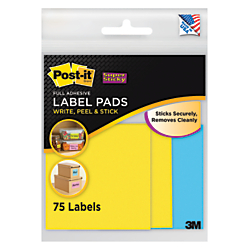 Post-it(R) Super Sticky Removable Label Pads, Square, 3in. x 3in., Assorted Colors, 25 Labels Per Pad, Pack Of 3 Pads