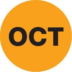 Tape Logic(R) Orange - OCT Months of the Year Labels 2in., DL6746, Roll of 500