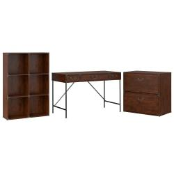 kathy ireland(R) Office by Bush Furniture Ironworks 48in.W Writing Desk, 6 Cube Bookcase, And Lateral File Cabinet, Coastal Cherry, Standard Delivery
