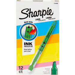 Sharpie(R) Liquid Accent(R) Pen-Style Highlighters, Fluorescent Green, Box Of 12