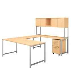 Bush Business Furniture 400 Series U Shaped Table Desk with Hutch and 3 Drawer Mobile File Cabinet, 72in.W x 30in.D, Natural Maple, Premium Installation