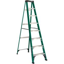 Nonconductive, fiberglass stepladder is capable of supporting up to 225 lb. Fiberglass rails provide strength and a corrosion-resistant design for increased durability. Deeply serrated, U-channel 3in. steps enhance your grip to reduce slipping. Angle bracing provides strength and stability on the top step, bottom step and rear brace. Slip-resistant rubber feet, pinch-resistant spreader braces and steel gusset bracing ensure your safety when working. Stepladder meets OSHA requirements and is ANSI certified. #592 Eight-Foot Folding Fiberglass Step Ladder, Green/Black is one of many Ladders & Step Stools available through Office Depot. Made by Davidson Ladder.