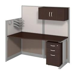 Bush Business Furniture Office In An Hour Straight Workstation With Storage Accessory Kit, Mocha Cherry Finish, Premium Delivery