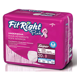 FitRight Protective Underwear, National Breast Cancer Foundation, Large, Pink, 20 Per Bag, Case Of 4 Bags