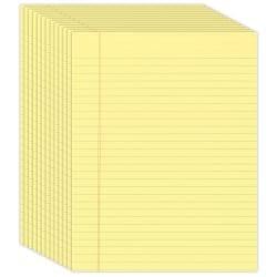 Office Depot(R) Brand Glue-Top Writing Pads, 8 1/2in. x 11in., Legal Ruled, 50 Sheets, Canary, Pack Of 12 Pads