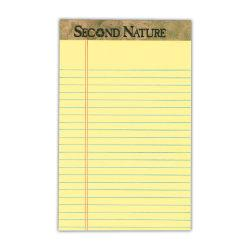 TOPS(TM) Second Nature(R) 100% Recycled Writing Pads, 5in. x 8in., Legal Ruled, 50 Sheets, Canary, Pack Of 12 Pads