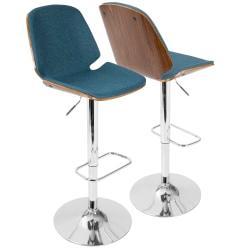 LumiSource Serena Mid-Century Modern Barstool, Blue/Chrome
