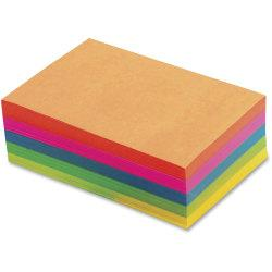 TOPS Fluorescent Memo Sheets - 500 Sheets - 20 lb Basis Weight - 4in. x 6in. - Assorted Paper - Acid-free, Heavyweight - 500 / Pack