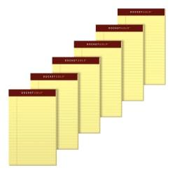 TOPS(TM) Docket Gold(TM) Premium Writing Pads, 5in. x 8in., Jr. Legal Rule, Canary, 50 Sheets Per Pad, Pack Of 6 Pads