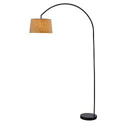 Adesso(R) Goliath Arc Floor Lamp, 83in.H, Burlap/Black