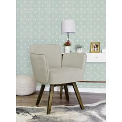 Elle Decor Esme Home Office Chair, Ivory/Dark Chinese Chestnut