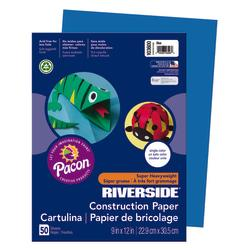 Riverside(R) Groundwood Construction Paper, 100% Recycled, 9in. x 12in., Blue, Pack Of 50