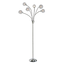 Adesso(R) Pom Pom Floor Lamp, 68ft., White Shade/Brushed Steel Base