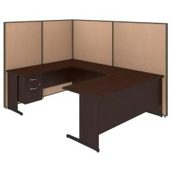 Bush Business Furniture C-Leg U-Shaped Laminate Computer Desk With 3/4 Pedestal And ProPanels, 67in.H x 97 7/8in.W x 74in.D, Harvest Tan, Standard Delivery