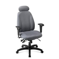 WorkPro(R) Maverick Multifunction Fabric High-Back Chair With Headrest, Gray/Black