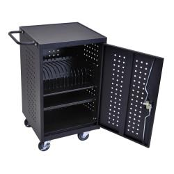 Luxor LLTM16-B Charging/Storage Cart For Tablets, 36 3/4in.H x 26in.W x 20 1/4in.D, Black