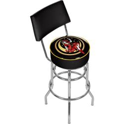 Trademark Global Padded Bar Stool, With Back, Miller High Life Girl In The Moon, Chrome