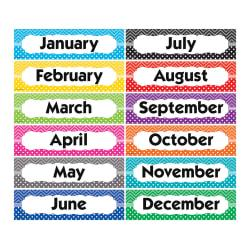 Teacher Created Resources Chevrons And Dots Monthly Headliners, Assorted Colors, Pre-K - Grade 8, Pack Of 12
