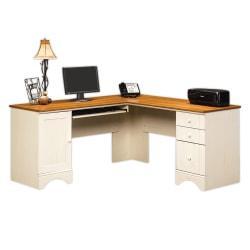 Sauder(R) Harbor View Collection Corner Computer Desk, Antiqued White