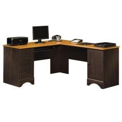 Sauder(R) Harbor View Collection Corner Computer Desk, Antiqued Paint