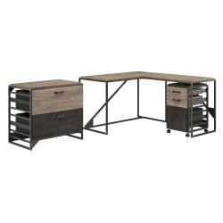 Bush Furniture Refinery 50in.W L Shaped Industrial Desk With 37in.W Return And File Cabinets, Rustic Gray/Charred Wood, Standard Delivery