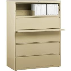 Lorell(R) Fortress Series 42ft.'W 5-Drawer Steel Lateral File Cabinet, Putty