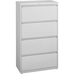 Lorell(R) Fortress Series 36ft.'W 4-Drawer Steel Lateral File Cabinet, Light Gray