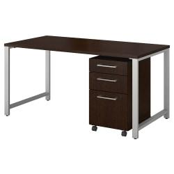 Bush Business Furniture 400 Series Table Desk With 3 Drawer Mobile File Cabinet, 60in.W x 30in.D, Mocha Cherry, Standard Delivery