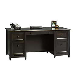 Sauder Edge Water Executive Desk, Estate Black