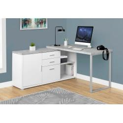 Monarch Specialties L-Shaped Computer Desk With Cabinet, Gray Cement/White