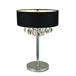 Elegant Designs Romazzino Cascading Crystal Table Lamp, 22 1/4in.H, Black Shade/Chrome Base