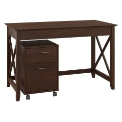Bush Furniture Key West 48in.W Writing Desk With 2 Drawer Mobile File Cabinet, Bing Cherry, Standard Delivery