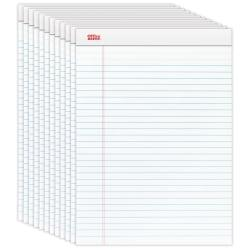 Office Depot(R) Brand Perforated Writing Pads, 8 1/2in. x 11 3/4in., Legal Ruled, 50 Sheets, White, Pack Of 12 Pads