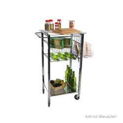 Mind Reader 1-Drawer Glass-Top Mobile Kitchen Cart, Silver